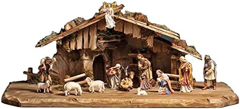 PEMA Nativity 15 Piece Set 5 in. Scale, Italian Hand Carved Wood