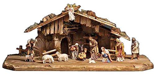 15 Piece PEMA Nativity Set 5 in. Scale, Italian Hand Carved Wood by PEMA Nativity