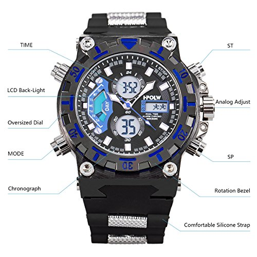 SIBOSUN LED Digital Wrist Watch, Multifunctional Military Watch, Stopwatch Waterproof Big Face Mens Sports Watches