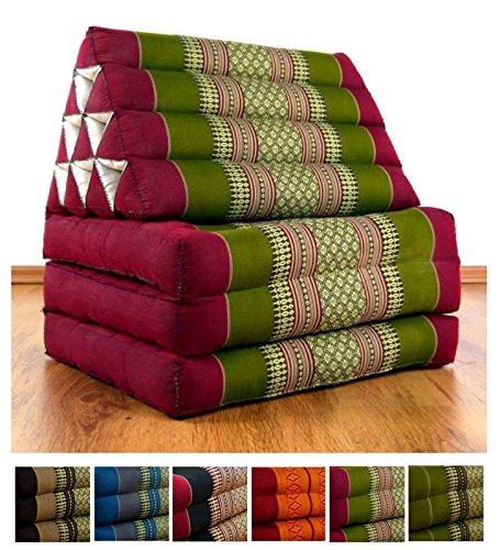 Thaikissen mit 3 Auflagen der Marke Asia Wohnstudio, Kapok Dreieckskissen, asiatisches Sitzkissen, Liegematte, Thaimatte (rot / grün)