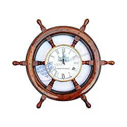 Nautical Premium Wood Ship Wheel W/ Downton Abbey Time's Clock | Pirate's Gift | Beach Home Decor | Nagina International (36 Inches)