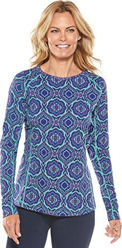 Coolibar UPF 50+ Women's Long Sleeve Swim Shirt - Sun Protective (XX-Large- Tropical Mint Beach - Women Uva