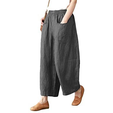 63660a2081579 TOOGOO Women Vintage Cotton Linen Elastic Waist Striped Wide Leg Pants  Ladies Casual Loose Pockets Trousers Plus Size Gray S  Amazon.co.uk   Clothing