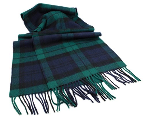 "Mens Wool Scarf Lambswool Blackwatch 63"" x 12"" Irish Made John (Mens Wool Scarves)"