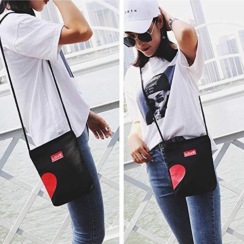 ragazzi trend S giovani moda spalla cartelle Charma e Nero Bag love Single ragazze coppia Messenger Canvas XxxqAwP4B