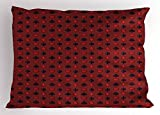 Lunarable Poker Pillow Sham, Suits of Cards Pattern with Clubs Spades and Hearts on an Abstract Red Background, Decorative Standard Size Printed Pillowcase, 26 X 20 Inches, Ruby Black