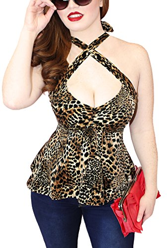 Halter Shirt Top Empire (Demi Loon Peplum Pinup Halter Top (L/XL, Leopard Velvet))