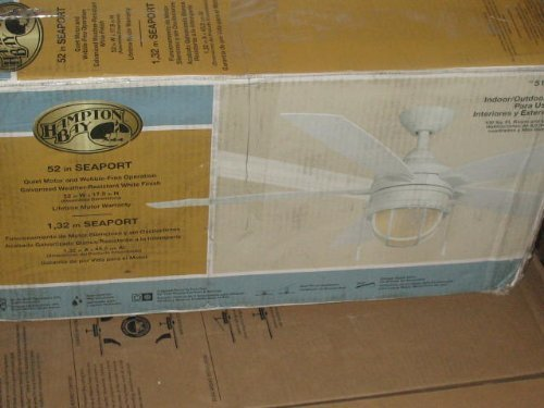 Hampton Bay Seaport 52 In. Indoor/outdoor White Ceiling Fan (Nautical Ceiling Fans With Lights)