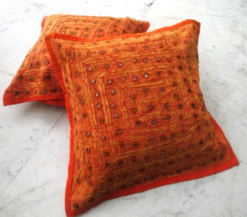 2 Orange Mirror Work Embroidery Indian Sari Throw Pillow Toss Cushion Covers (Cushion Covers Sari Toss Pillow)