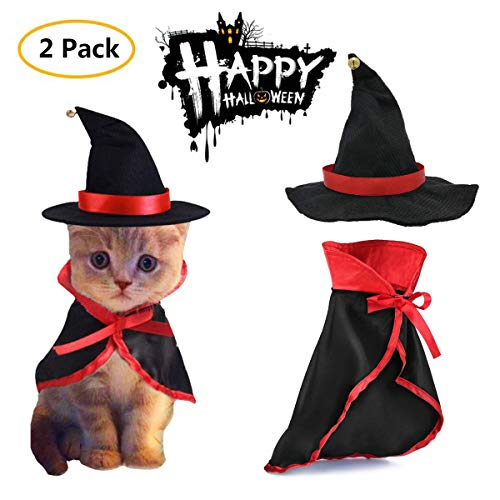 TOLOG Cat Halloween Costumes 2Pcs-Vampire Cloak and Wizard Hat for Halloween Dog Outfit Fairy Pet Cosplay Apparel Kitten…