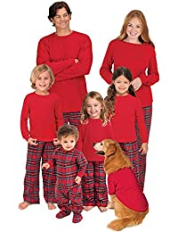 Red Flannel Stewart Plaid Matching Family Christmas Pajama Set