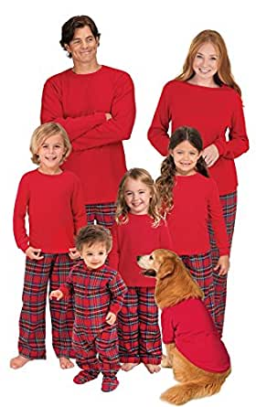 PajamaGram Red Flannel Stewart Plaid Matching Family Christmas Pajama Set, Women X-Small (2-4), Red