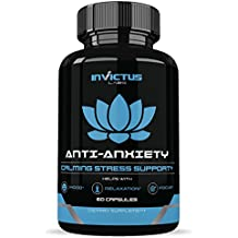 Premium Anxiety Relief - Stress Support Supplement With Ashwagandha to Soothe & Relax, Memory & Cognitive Function, Reduce Stress by Increasing Serotonin Without Feeling Tired| CBD Free - 60 Veg Caps