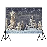 DODOING 7x5FT Wooden Wall White Snowing Accumulated Christmas Theme Photography Backdrop Photo Background Studio Prop
