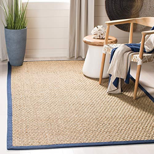 - Safavieh Natural Fiber Collection NF114E Basketweave Natural and Blue Summer Seagrass Area Rug (5' x 8')