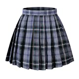 Beautifulfashionlife Girl's A-line Kilt Plaid Pleated Skirts (XS,Light Blue Mixed Green)
