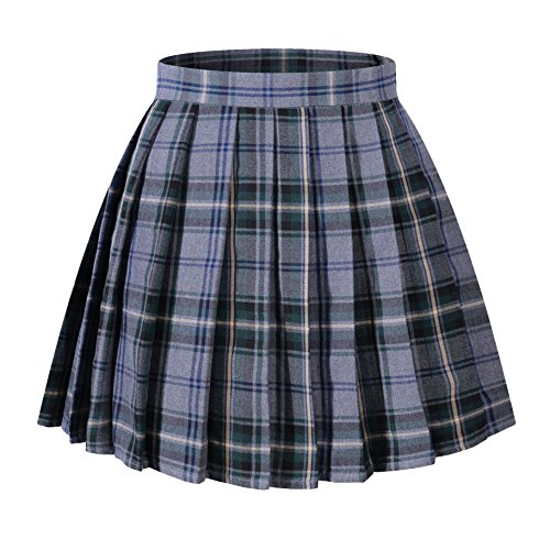Beautifulfashionlife Women High Waist =Sexy Kilt Mini Checkered Pleated Skirts(2XL,Light Blue Mixed Green) (Sexy Blue Pleated Skirt)