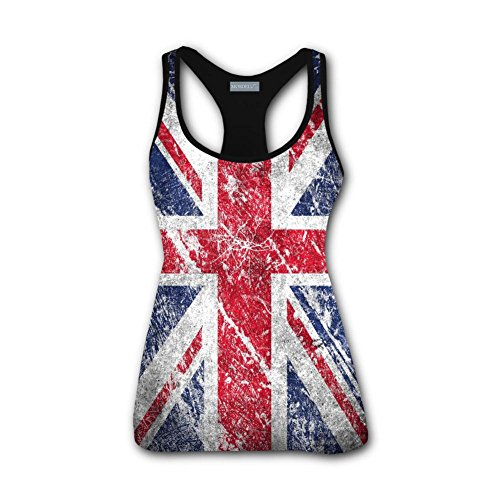 MMQbeal Womens Workout Yoga Vest British Flag Casual Tank Tops Sleeveless - Records Brittany