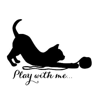 Juego creativo con mí gatito gatos etiqueta de la pared decoración vinilo removible Poster Art tatuajes de pared habitación de niños 75 cm X 58 cm: ...