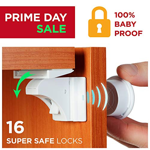 - Baby Proofing Magnetic Locks - Baby Proof Cabinet Kitchen Bathroom Drawers Locks for Child Safety - Easy to Install Childproof Cabinet Locks for Infants or Kids 16 Latches and 4 Keys by BabyTrust