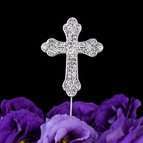 LOVENJOY Gift Box Pack Cross Rhinestone Crystal Cake Top Topper for Wedding Religious Baptism Christening First Communion Confirmation (2.2-inch wide) (First Communion Centerpieces)