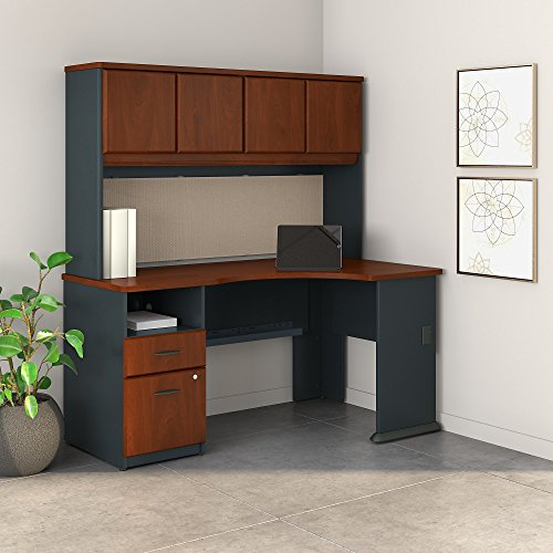 Bush Business Furniture Series A 60W Corner Desk with Hutch and 2 Drawer ()