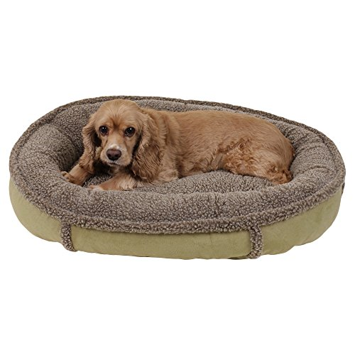 1 Piece Sage Green Small 27 Inches Bolster Round Comfort Pet Bed, Light Green Color Comfy Cup Style Indoor Bed For Puppy Dog, Raised Sides Joints Support Removable Cover, Loft Polyester Faux (Berber Comfy Cup)