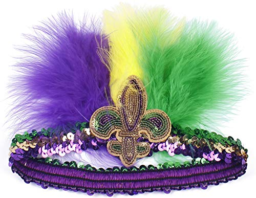 Myjoyday Mardi Gras Feather Headband Fleur Di Lis Headwear Sequin Headpiece for Women (Purple Yellow Green 2PCS)]()