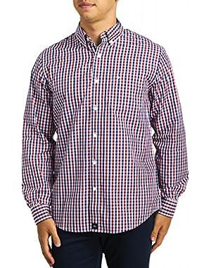 Men's Long-Sleeve Two-Tone Grid Woven Shirt