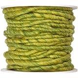10m Wollschnur mit Juteseele Wollband Wolle Dekowolle Filzkordel D ca. 5mm, Farbe:grün