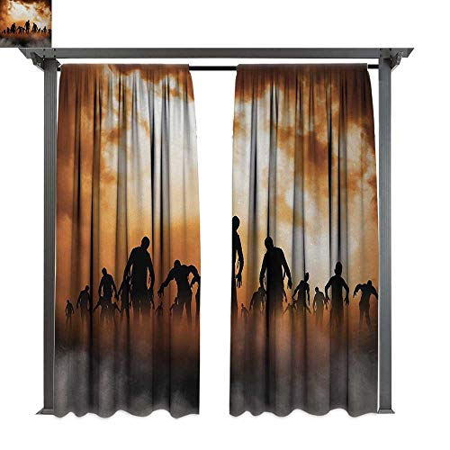 Halloween, Outdoor Privacy Curtain for Pergola, Zombies Dead Men Walking Body in The Doom Mist at Night Sky Haunted Theme Print, Thermal Insulated Water Repellent Drape for Balcony (W108 x -