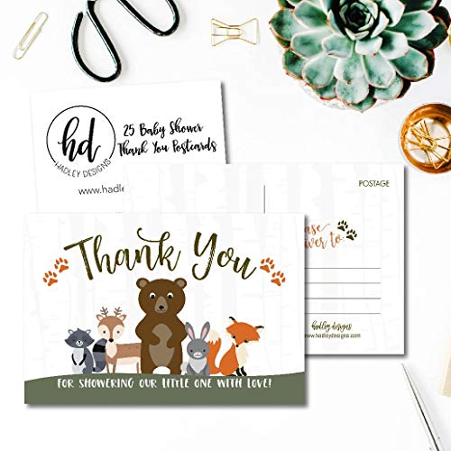 25 Girl or Boy Woodland Baby Shower Thank You Note Card Bulk Set, Blank Cute Animals Gender Reveal Neutral Sprinkle Postcards, No Envelope Needed For Party Gift, Personalize Printable Cardstock Photo #4