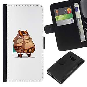 LECELL--Cuero de la tarjeta la carpeta del tirón Smartphone Slots Protección Holder For HTC One M9 -- Jefe de grasa --