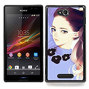 - Girl Redhead Glasses Purple Smart - - Snap-On Rugged Hard Cover Case Funny HouseFOR Sony Xperia C S39h C2305
