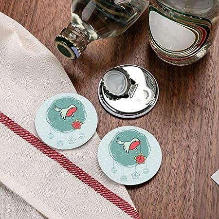 Abrebotellas, marco redondo de Navidad y año nuevo con pajarito con decoración de árbol en símbolo de pico, imanes de nevera, sacacorchos, 2 piezas