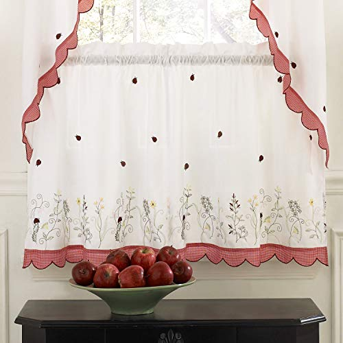 - ABeautifulSeller Embroidered Ladybug Meadow Kitchen Curtains Choice of Tiers or Valance or Swags (36
