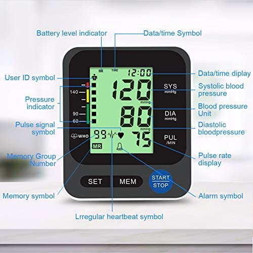 """Blood Pressure Monitor for Home Use with Large 3.5"""" LCD Display, Wowgo Digital Upper Arm Automatic Measure Blood Pressure and Heart Rate Pulse with Wide-Range Cuff,Three-Color Backlight Display 516H3vTzBRL"""