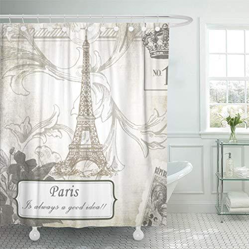 (Semtomn Shower Curtain Fashionista Shabby Paris is Always Good Breakfast Tiffanys Chic 72