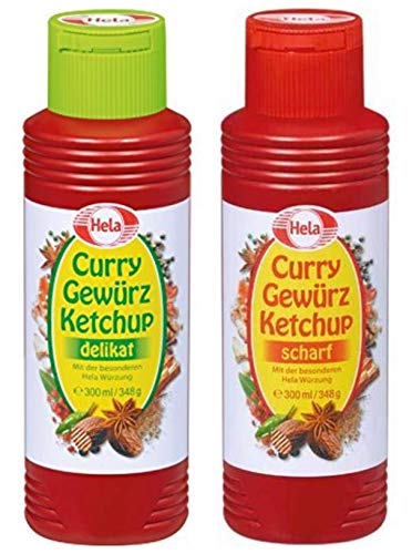 Sauce Mild Curry - Hela 2 Flavor Curry Gewurz Ketchup Mild and Hot 300 ml each From Germany
