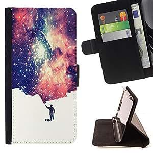 BullDog Case - FOR/Samsung Galaxy Core Prime / - / universe small man symbolic art stars space /- Monedero de cuero de la PU Llevar cubierta de la caja con el ID Credit Card Slots Flip funda de cuer