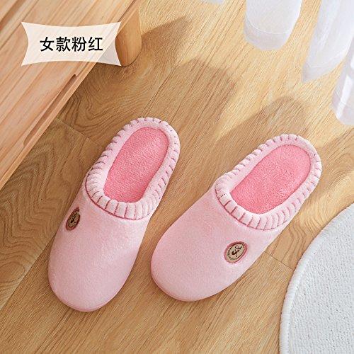 Cotone fankou pantofole inverno gli uomini e le donne al fine di non-slip home home carino pacchetto caldo con le coppie il ribaltamento di pantofole inverno 38/39 (per 37-38 piedi) colore solido - ro