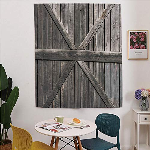Rustic Blackout Window curtain,Free Punching Magic Stickers Curtain,Old Wooden Door with Big Cross Design Rustic Country Life Architecture Building Doorway Decorative,for Living Room,study, kitchen, ()