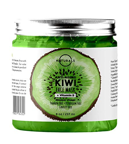O Naturals Anti-Aging Kiwi & Cucumber Vitamin B Hydrating Gel Face Mask. Firms Skin, Reduces Wrinkles & Fine Lines. Moisturizer for a Vibrant Complexion w/Hyaluronic Acid, Apple & Spirulina Vegan 8Oz