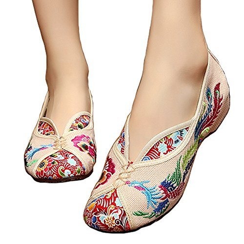 ALBBG Embroidered Chinese Style Embroidery Flats Ballet Crafts Women's Shoes Red White Black (B(M) US6.5-7/EU37/UK4.5-5/CN37 Medium, Beige) ()