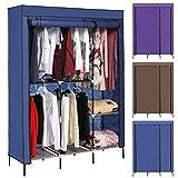 Hosmat Clothes Closet Portable Wardrobe Clothes Storage Rack with Shelves Fabric Cover (Blue)