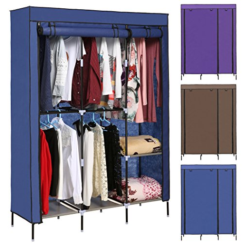 Korie Clothes Closet Portable Wardrobe Closet Organizer Storage Double Rod Closet (Blue) ()