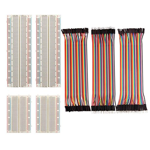 FTCBlock 4 Pieces Breadboards Kit with 120 Pieces Jumper Wires for Arduino Proto Shield Distribution Connecting Blocks