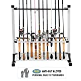 FishingSir Portable Aluminum Fishing Rod Rack Holds 24 Rods with Free Cut Resistant Gloves- Fishing Rod Holder Great for Storing Fishing Poles on Boat, Truck, RV
