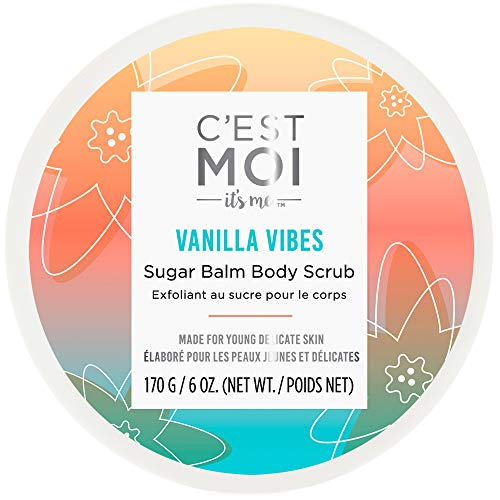 C'est Moi Vanilla Vibes Sugar Balm Body Scrub | Invigorating & Hydrating Exfoliant, Clinically Tested Non-Toxic Ingredients feat. Organic Shea Butter, Coconut Oil & Avocado Oil, EWG Verified, 6 oz