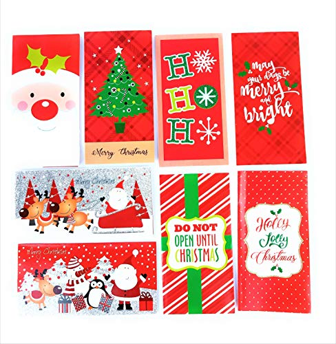 32 Christmas Money Checks & Gift Card Holders With Envelopes - Assorted Holiday Designs with Foil and Glitter